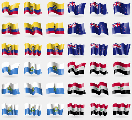 san marino: Ecuador, New Zeland, San Marino, Syria. Set of 36 flags of the countries of the world. Vector illustration