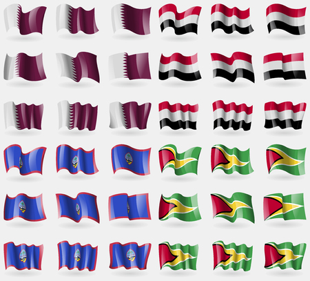 guam: Qatar, Yemen, Guam, Guyana. Set of 36 flags of the countries of the world. Vector illustration