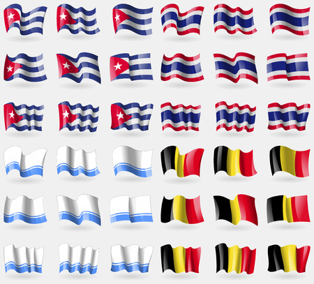altai: Cuba, Thailand, Altai Republic, Belgium. Set of 36 flags of the countries of the world. Vector illustration