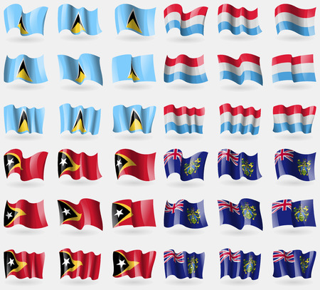 pitcairn: Saint Lucia, Luxembourg, East Timor, Pitcairn Islands. Set of 36 flags of the countries of the world. Vector illustration