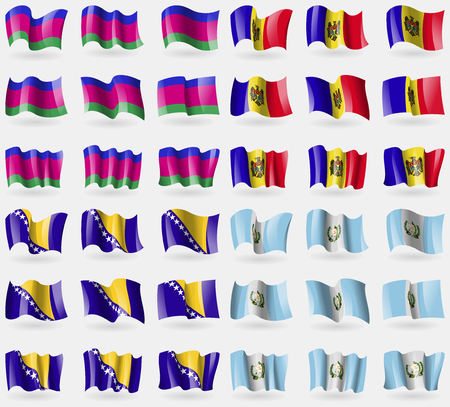 kuban: Kuban Republic, Moldova, Bosnia and Herzegovina, Guatemala. Set of 36 flags of the countries of the world. Vector illustration