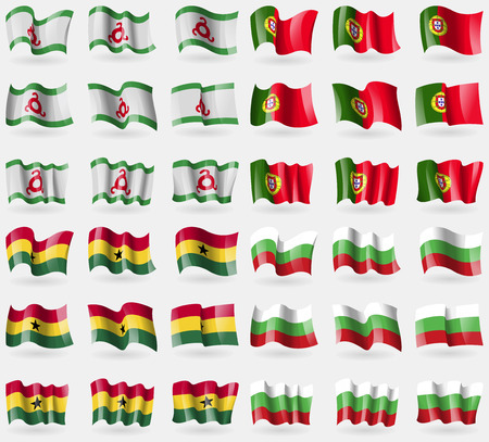 36: Ingushetia, Portugal, Ghana, Bulgaria. Set of 36 flags of the countries of the world. Vector illustration