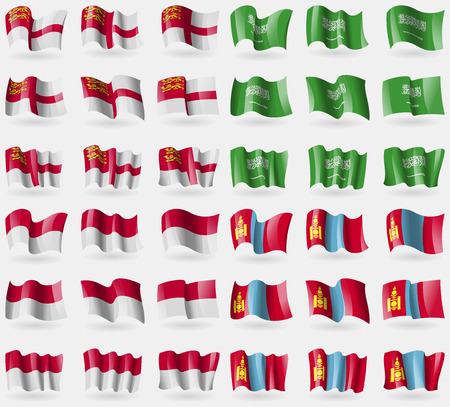 indonesia culture: Sark, Saudi Arabia, Indonesia, Mongolia. Set of 36 flags of the countries of the world. Vector illustration Illustration