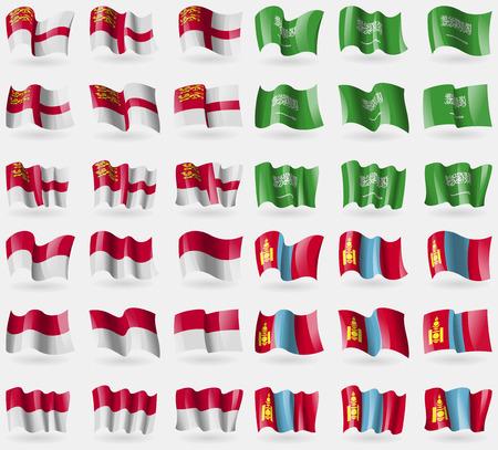 sark: Sark, Saudi Arabia, Indonesia, Mongolia. Set of 36 flags of the countries of the world. Vector illustration Illustration
