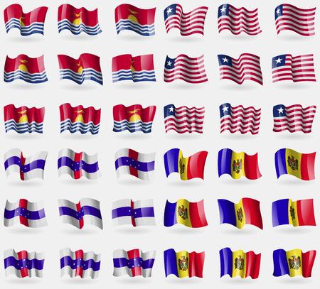 antilles: Kiribati, Liberia, Netherlands Antilles, Moldova. Set of 36 flags of the countries of the world. Vector illustration
