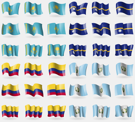 36: Kazakhstan, Nauru, Colombia, Guatemala. Set of 36 flags of the countries of the world. Vector illustration Illustration