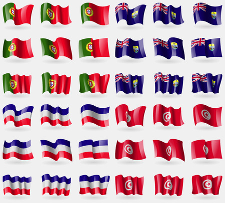 helena: Portugal, Saint Helena, Los Altos, Tunisia. Set of 36 flags of the countries of the world. Vector illustration Illustration