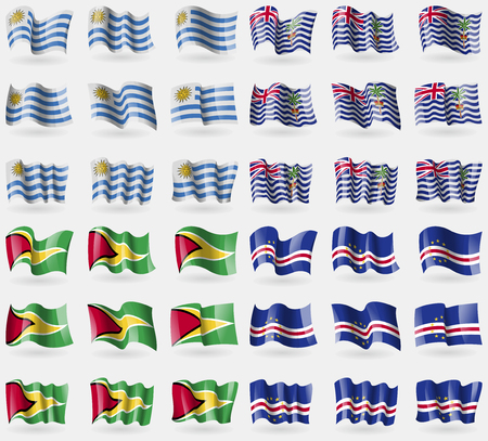 indian ocean: Uruguay, British Indian Ocean Territory, Guyana, Cape Verde. Set of 36 flags of the countries of the world. Vector illustration