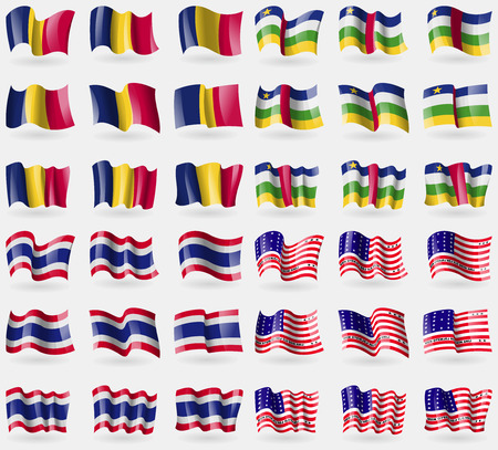 atoll: Chad, Central African Republic, Thailand, Bikini Atoll. Set of 36 flags of the countries of the world. Vector illustration Illustration