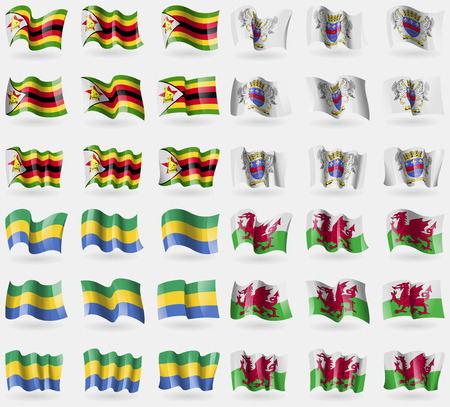 36: Zimbabwe, Saint Barthelemy, Gabon, Wales. Set of 36 flags of the countries of the world. Vector illustration