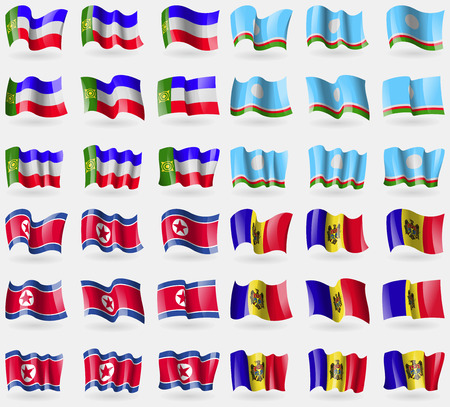 36: Khakassia, Sakha Republic, Korea North, Moldova. Set of 36 flags of the countries of the world. Vector illustration