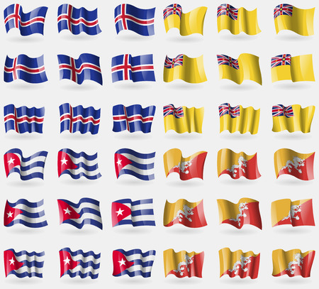 niue: Iceland, Niue, Cuba, Bhutan. Set of 36 flags of the countries of the world. Vector illustration