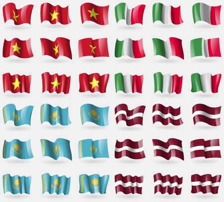 36: Vietnam, Italy, Kazakhstan, Latvia. Set of 36 flags of the countries of the world. Vector illustration Illustration
