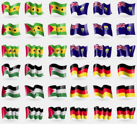 palestine: Sao Tome and Principe, Saint Helena, Palestine, Germany. Set of 36 flags of the countries of the world. Vector illustration Illustration