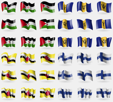 36: Western Sahara, Barbados, Brunei, Finland. Set of 36 flags of the countries of the world. Vector illustration