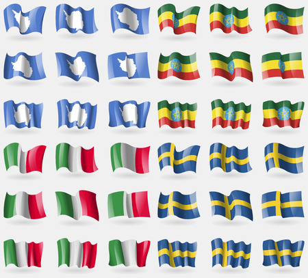 antarctica: Antarctica, Ethiopia, Italy, Sweden. Set of 36 flags of the countries of the world. Vector illustration