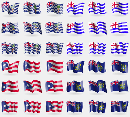 pitcairn: British Indian Ocean Territory, Ajaria, Puerto Rico, Pitcairn Islands. Set of 36 flags of the countries of the world. Vector illustration