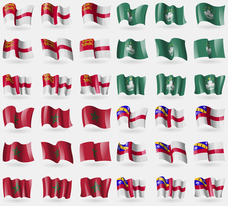 36: Sark, Macau, Morocco, Herm. Set of 36 flags of the countries of the world. Vector illustration