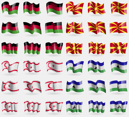 36: Malawi, Macedonia, Turkish Northern Cyprus, Lesothe. Set of 36 flags of the countries of the world. Vector illustration Illustration
