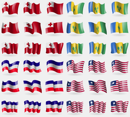 grenadines: Tonga, Saint Vincent and Grenadines, Los Altos, Liberia. Set of 36 flags of the countries of the world. Vector illustration