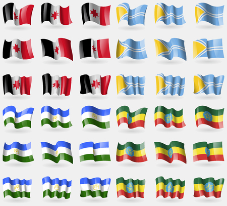 36: Udmurtia, Tuva, Bashkortostan, Ethiopia. Set of 36 flags of the countries of the world. Vector illustration