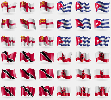 Sark, Cuba, Trinidad and Tobago, Gibraltar. Set of 36 flags of the countries of the world. Vector illustration