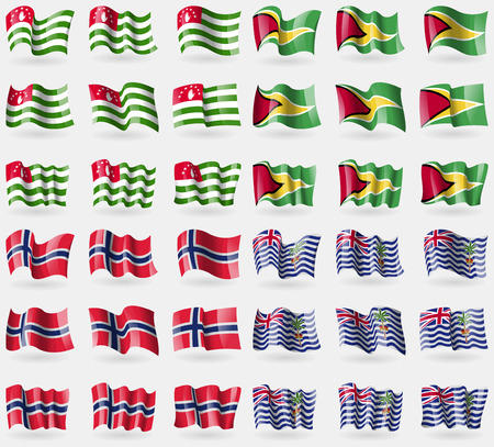 indian ocean: Abkhazia, Guyana, Norway, Brirish Indian Ocean Territory. Set of 36 flags of the countries of the world. Vector illustration Illustration