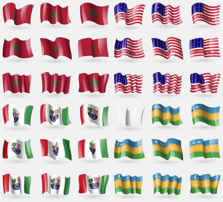 atoll: Morocco, Bikini Atoll, Bosnia and Herzegovina Federation, Karakalpakstan. Set of 36 flags of the countries of the world. Vector illustration