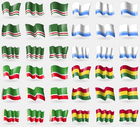 altai: Chechen Republic of Ichkeria, Altai Republic, Chechen Republic, Bolivia. Set of 36 flags of the countries of the world. Vector illustration