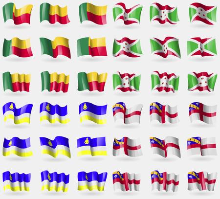 buryatia: Benin, Burundi, Buryatia, Herm. Set of 36 flags of the countries of the world. Vector illustration Illustration