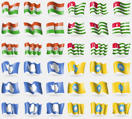 36: Niger, Abkhazia, Antarctica, Kalmykia. Set of 36 flags of the countries of the world. Vector illustration