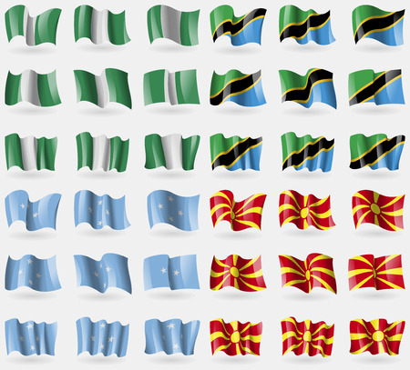 36: Nigeria, Tanzania, Micronesia, Macedonia. Set of 36 flags of the countries of the world. Vector illustration Illustration