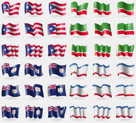 crimea: Puerto Rico, Chechen Republic, Anguilla, Crimea. Set of 36 flags of the countries of the world. Vector illustration