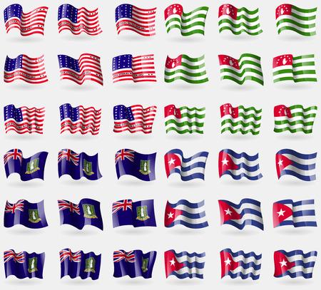 atoll: Bikini Atoll, Abkhazia, VirginIslandsUK, Cuba. Set of 36 flags of the countries of the world. Vector illustration