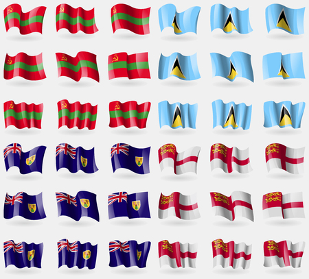 sark: Transnistria, Saint Lucia, Turks and Caicos, Sark. Set of 36 flags of the countries of the world. Vector illustration