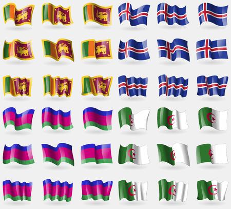 kuban: Sri Lanka, Iceland, Kuban Republic, Algeria. Set of 36 flags of the countries of the world. Vector illustration