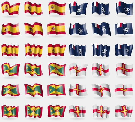 antarctic: Spain, French and Antarctic, Grenada, Guernsey. Set of 36 flags of the countries of the world. Vector illustration