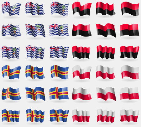 indian ocean: British Indian Ocean Territory, UPA, Aland, Poland. Set of 36 flags of the countries of the world. Vector illustration