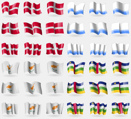 altai: Military Order Malta, Altai Republic, Cyprus, Central African Republic. Set of 36 flags of the countries of the world. Vector illustration