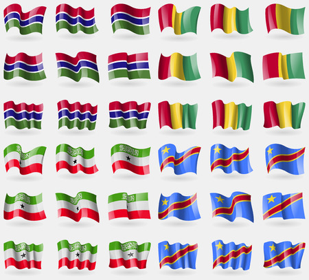 democratic: Gambia, Guinea, Somaliland, Congo Democratic Republic. Set of 36 flags of the countries of the world. Vector illustration Illustration