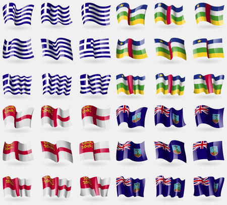 sark: Greece, Central African Republic, Sark, Montserrat. Set of 36 flags of the countries of the world. Vector illustration Illustration