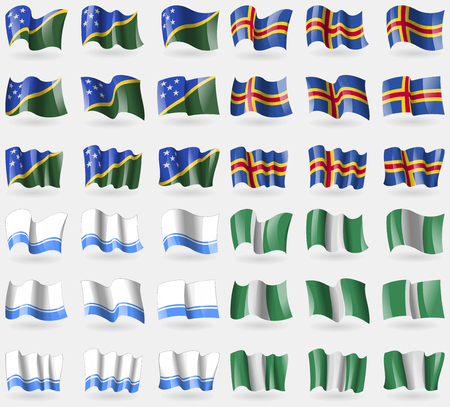 altai: Solomon Islands, Aland, Altai Republic, Nigeria. Set of 36 flags of the countries of the world. Vector illustration