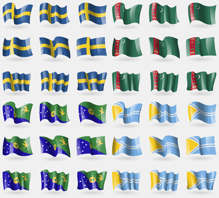 36: Sweden, Turkmenistan, Christmas Island, Tuva. Set of 36 flags of the countries of the world. Vector illustration Illustration