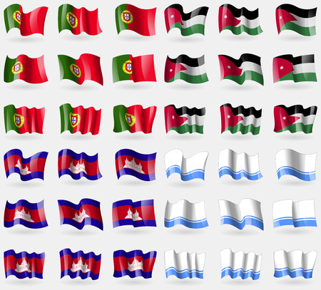 altai: Portugal, Jordan, Cambodia, Altai Republic. Set of 36 flags of the countries of the world. Vector illustration Illustration