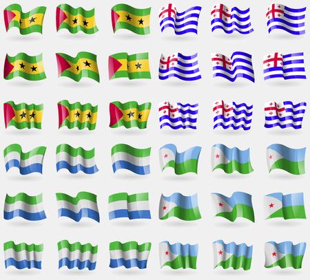 principe: Santo Tomé y Príncipe, Ajaria, Sierra Leona, Djibouti. Conjunto de 36 banderas de los países del mundo. ilustración vectorial Vectores
