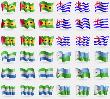 tome: Sao Tome and Principe, Ajaria, Sierra Leone, Djibouti. Set of 36 flags of the countries of the world. Vector illustration