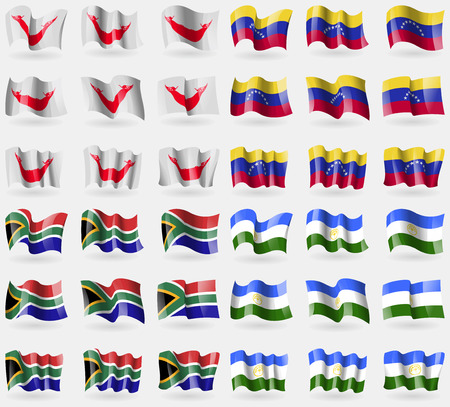 nui: Easter Rapa Nui, Venezuela, South Africa, Bashkortostan. Set of 36 flags of the countries of the world. Vector illustration Illustration