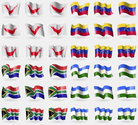 rapa nui: Pascua Rapa Nui, Venezuela, Sudáfrica, Bashkortostán. Conjunto de 36 banderas de los países del mundo. ilustración vectorial Vectores