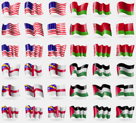 36: Bikini Atoll, Belarus, Herm, Palestine. Set of 36 flags of the countries of the world. Vector illustration