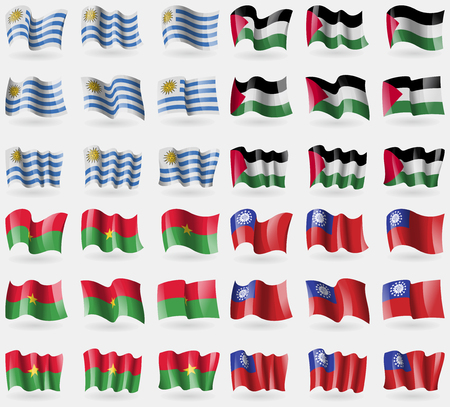 palestine: Uruguay, Palestine, Burkia Faso, MyanmarBurma. Set of 36 flags of the countries of the world. Vector illustration